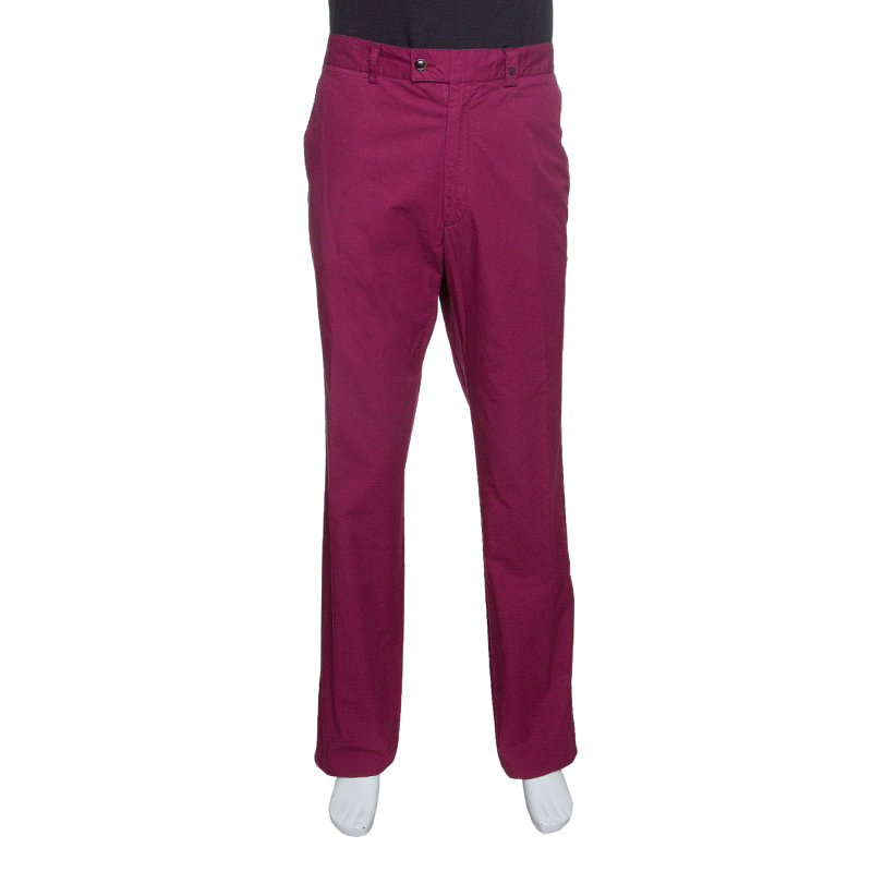 Купить со скидкой CH Carolina Herrera Purple Cotton Straight Fit Trousers 3XL