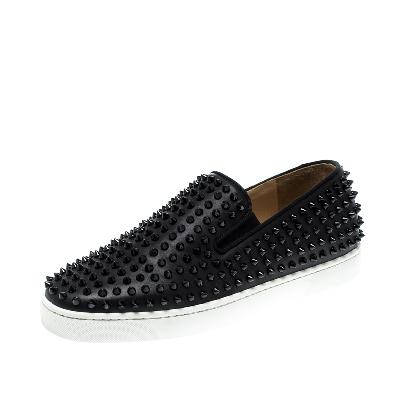 newest 1afc3 df30b Christian Louboutin Black Leather Roller Boat Spiked Slip On Sneakers Size  41.5
