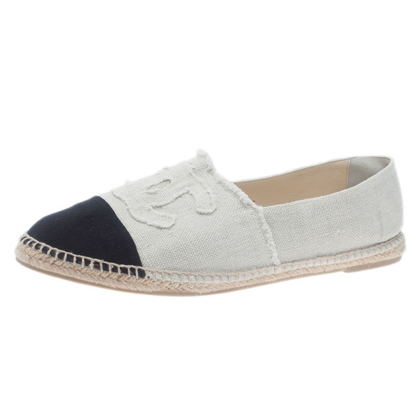 9cbed47dbbd Chanel Black & White CC Canvas Espadrilles Size 45