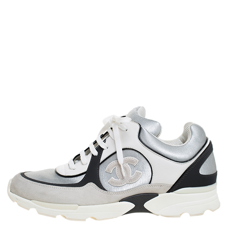 Chanel Silver/Black Leather and Fabric CC Lace Up Sneakers Size