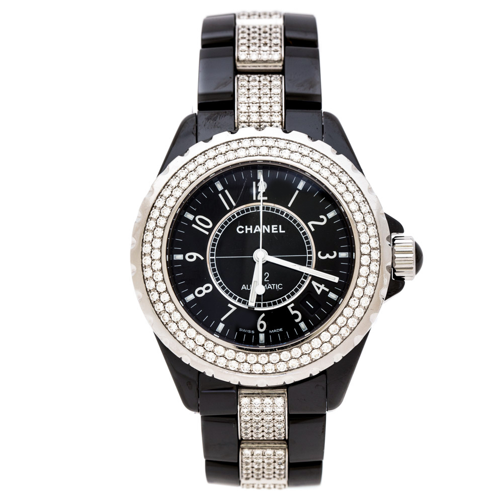 Chanel Black Ceramic Stainless Steel Diamonds J12 Women's Wristwatch 39 mm