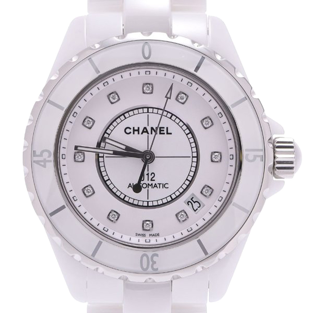 Pre-owned Chanel White Ceramic Diamond J12 H1629 Automatic Men's Wristwatch 38 Mm