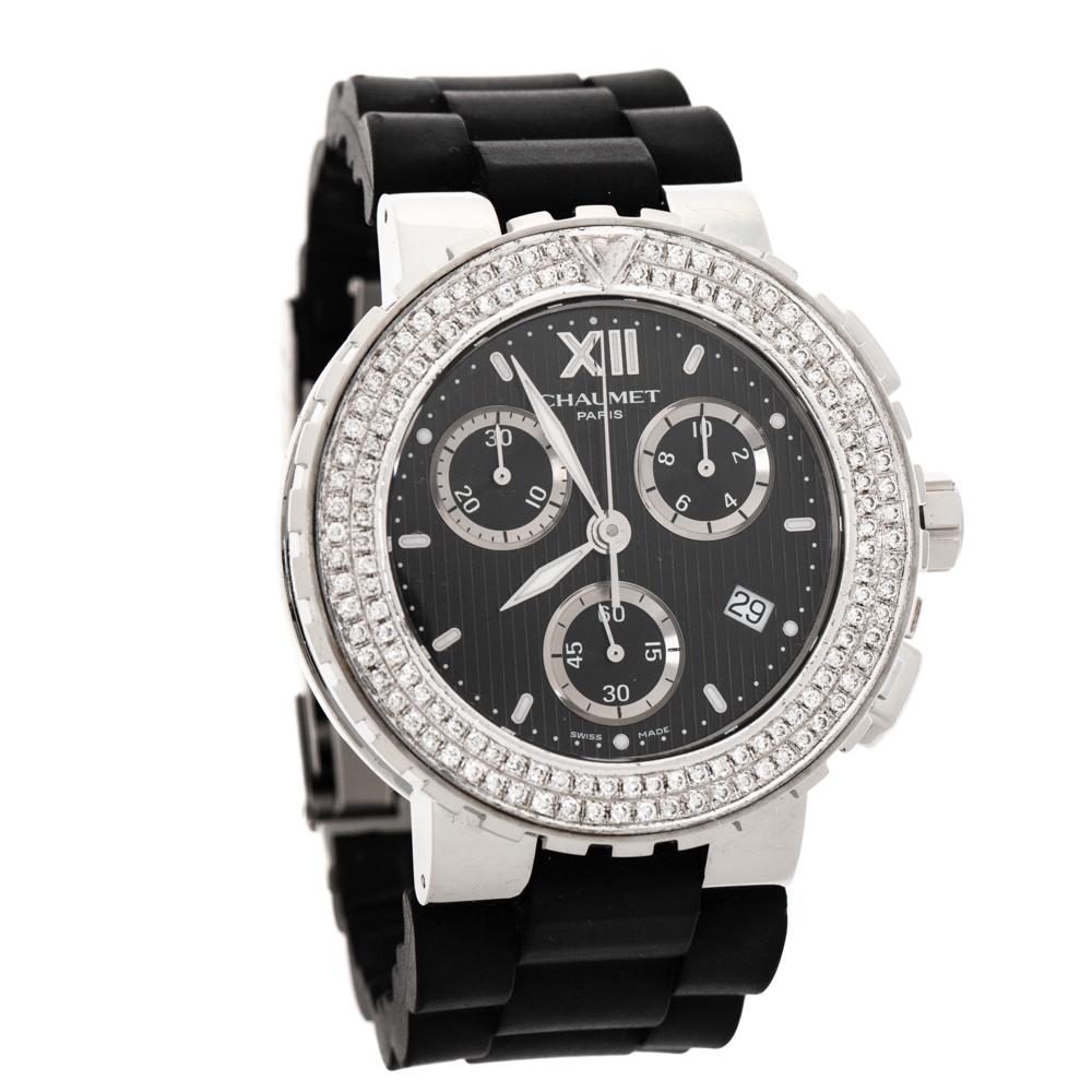 Chaumet Black Stainless Steel Diamond Class One 625B Men's Wristwatch 40 MM