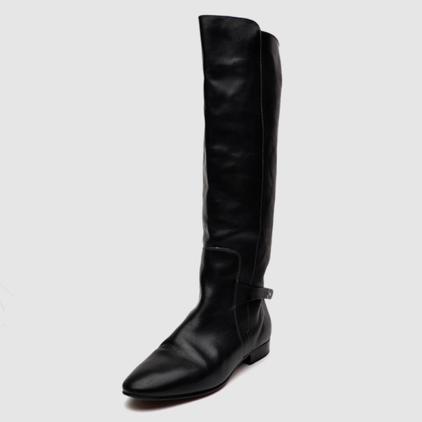 Chloe Black Leather Knee Length Flat Boots Size 41