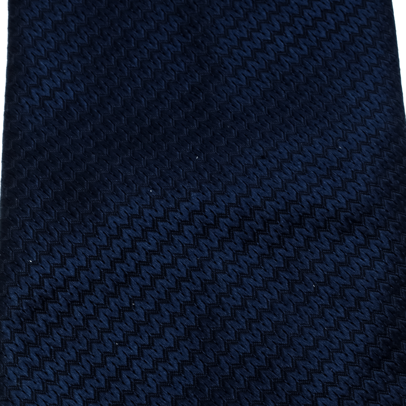 Chopard Navy Blue Patterned Silk Jacquard Traditional Tie