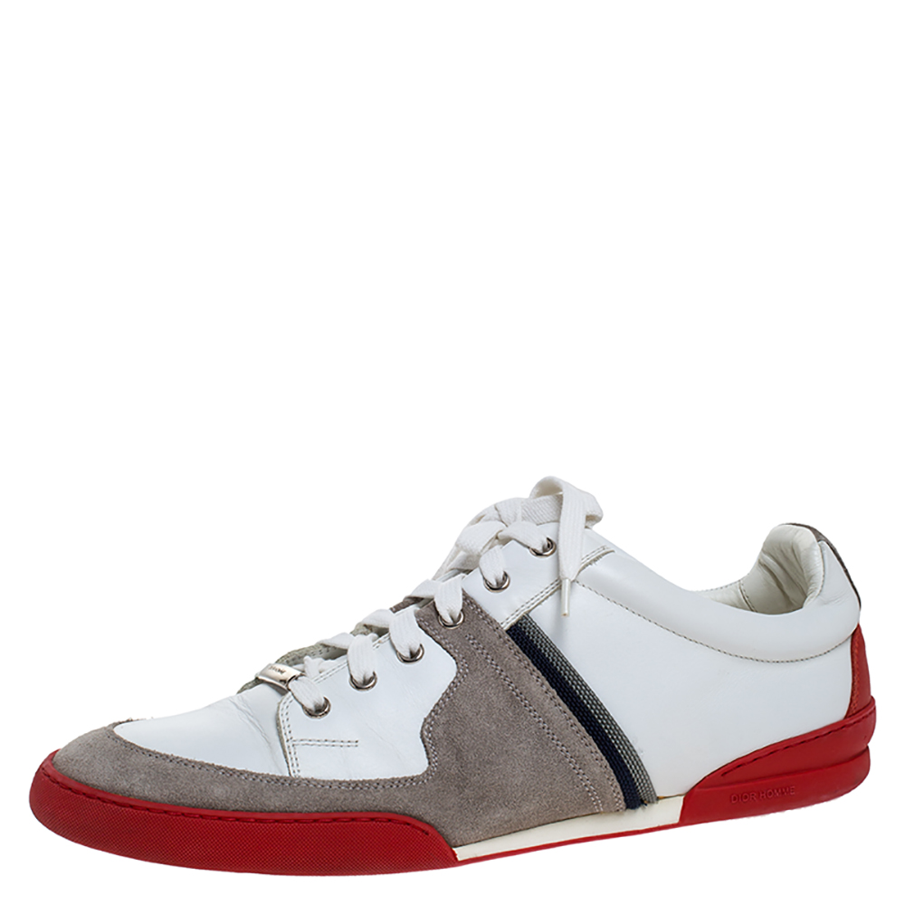 Dior Homme Grey Suede and White Leather Lace Up Low Top Sneakers Size 44