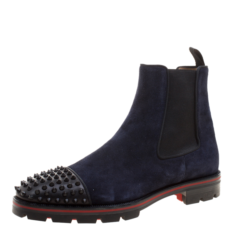 official photos b3ac7 a1965 Christian Louboutin Navy Blue Suede Melon Spikes Ankle Boots Size 44