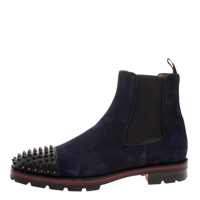 official photos 4163b 35190 Christian Louboutin Navy Blue Suede Melon Spikes Ankle Boots Size 44