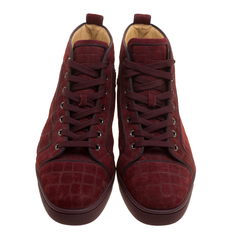 premium selection 82651 f5aec Christian Louboutin Burgundy Croc Effect Suede Louis High Top Sneakers Size  40.5