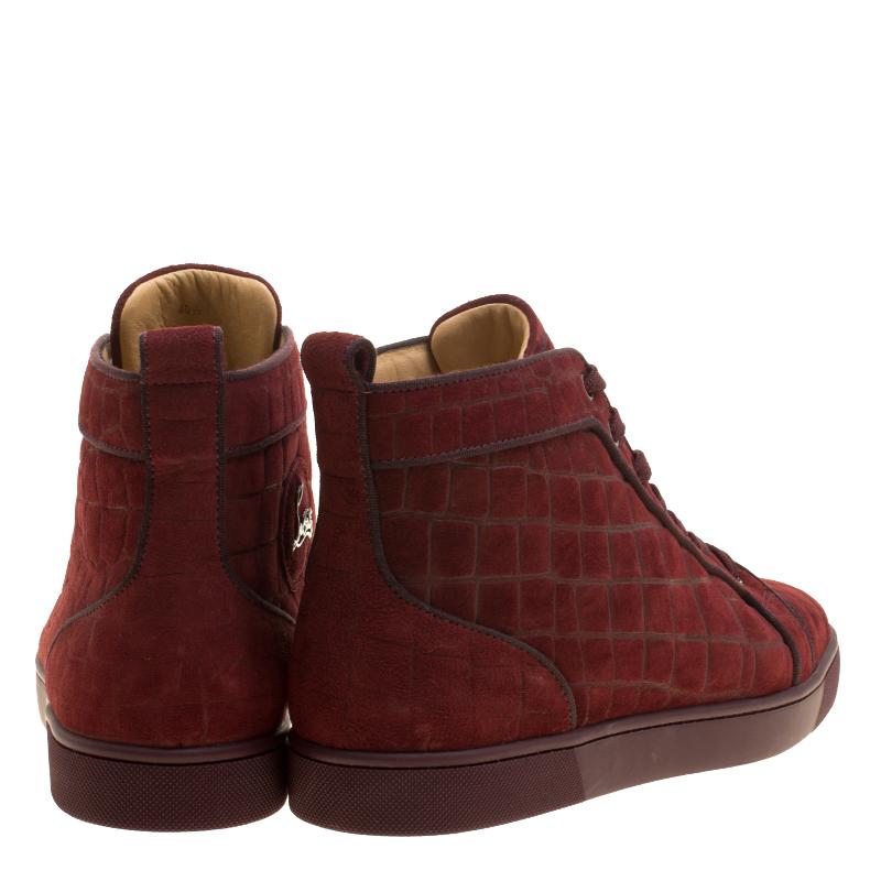 premium selection 18161 e7084 Christian Louboutin Burgundy Croc Effect Suede Louis High Top Sneakers Size  40.5