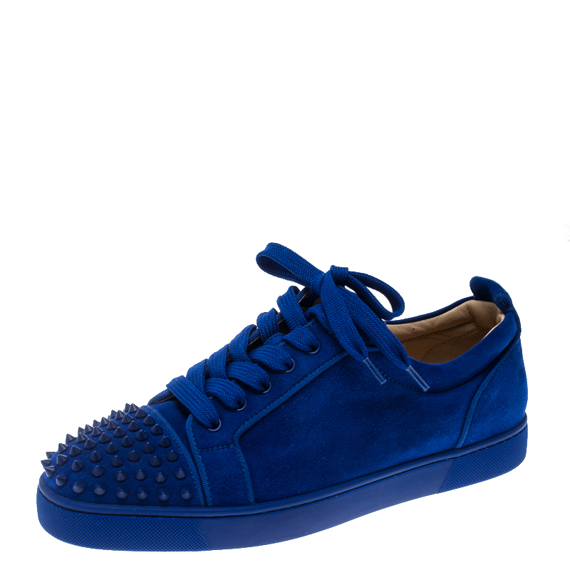 promo code 9f7a7 d7279 Christian Louboutin Cobalt Blue Suede Louis Junior Spikes Sneakers Size 43