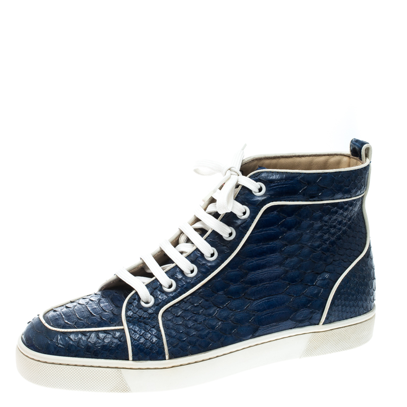 brand new 814b7 a451c Christian Louboutin Blue Python Leather Rantus Orlato High Top Sneakers  Size 40