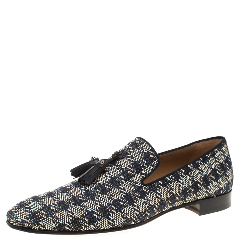 Christian Louboutin Two Tone Houndstooth Weave Dandelion Tassel Loafers Size 43 5