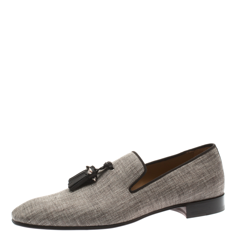 cf52015d209 Christian Louboutin Grey Canvas Dandelion Spiked Tassel Detail Loafers Size  40