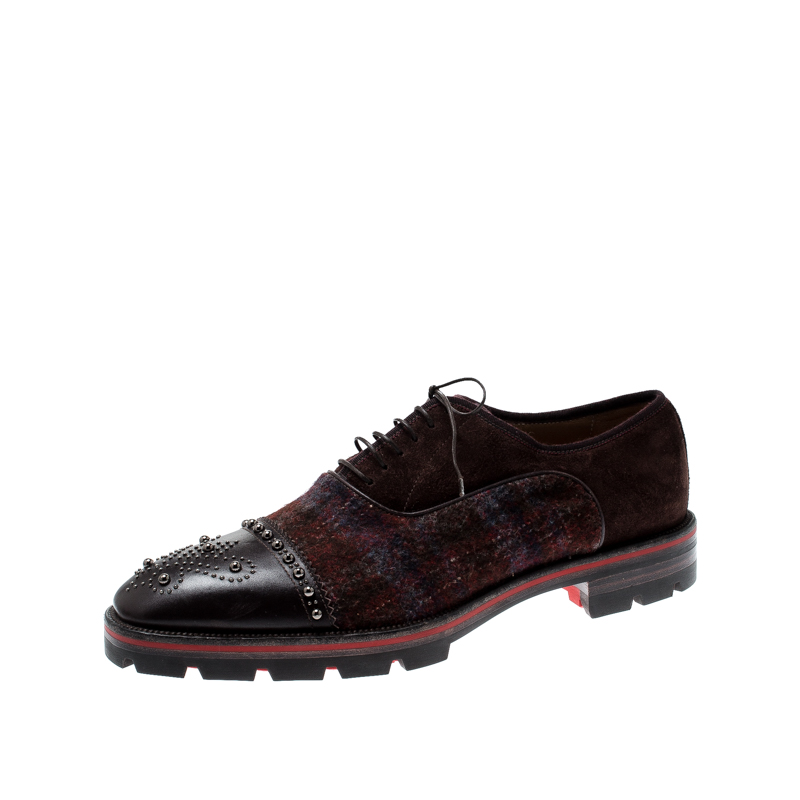 on sale 9efb7 d8e14 Christian Louboutin Brown Leather Wool Blend Robertus Studded Lace Up  Oxfords Size 43.5