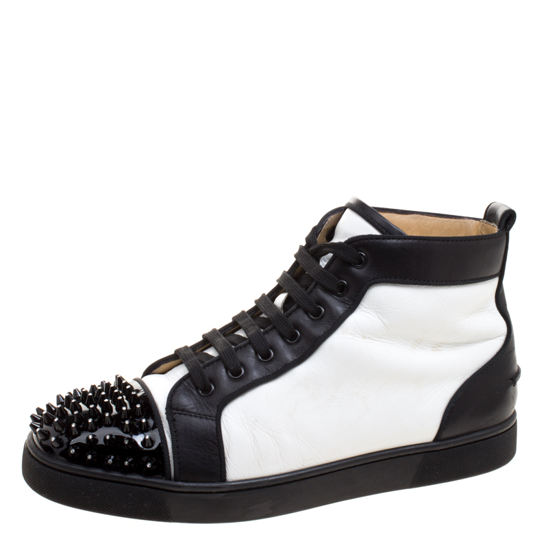 Christian Louboutin Monochrome Leather Lou Crystal Embellished Spikes Orlato Sneakers Size 42 5