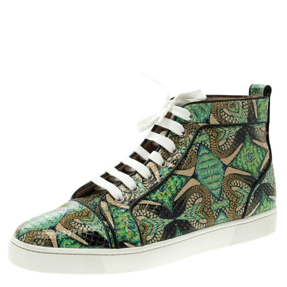 Buy Christian Louboutin Multicolor Hand Painted Python Leather ... e050f4fb80d2