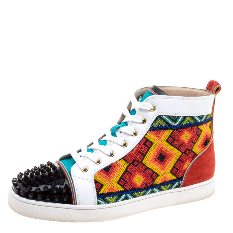 hot sale online 4b763 b7796 Christian Louboutin Multicolor Embellished Leather and Suede Tipiho High  Top Sneakers Size 42