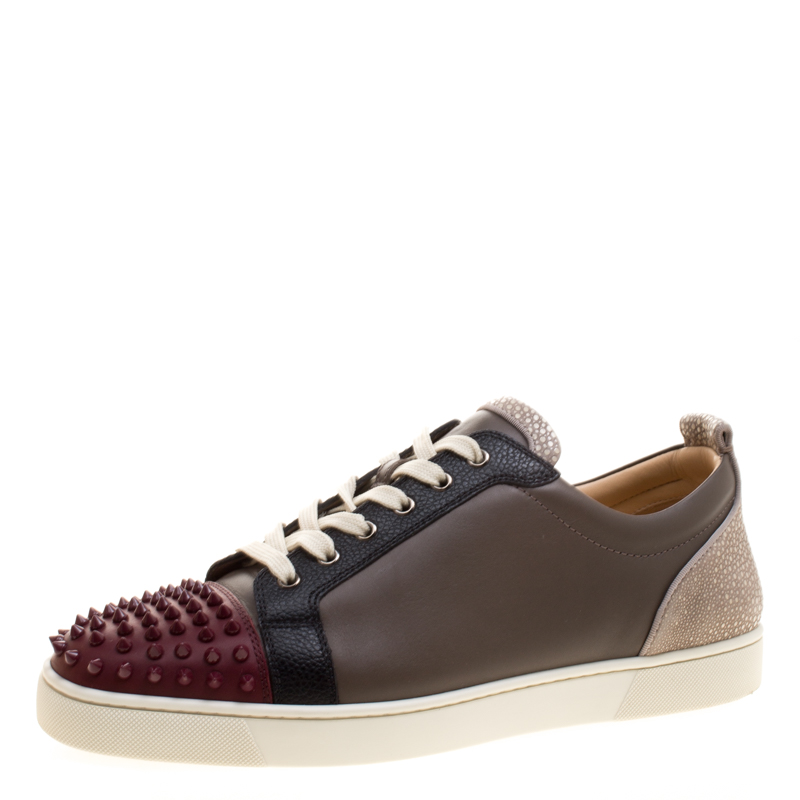 official photos cd4e0 f149a Christian Louboutin Multicolor Version Mastic Leather Louis Junior Spikes  Sneakers Size 47