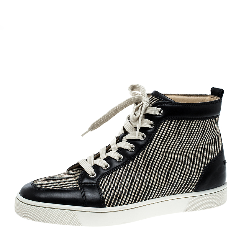 reputable site 3cf18 77d6d Christian Louboutin Beige/Black Straw and Leather Rantus Sneakers Size 41.5