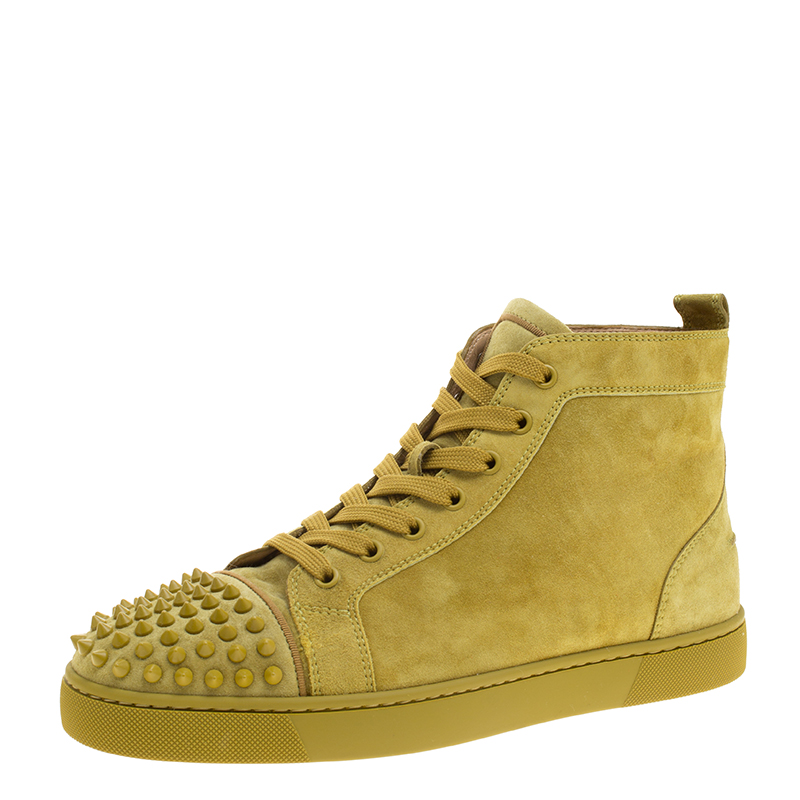 e12d5c06574b ... Christian Louboutin Green Suede Lou Spikes High Top Sneakers Size 42.  nextprev. prevnext