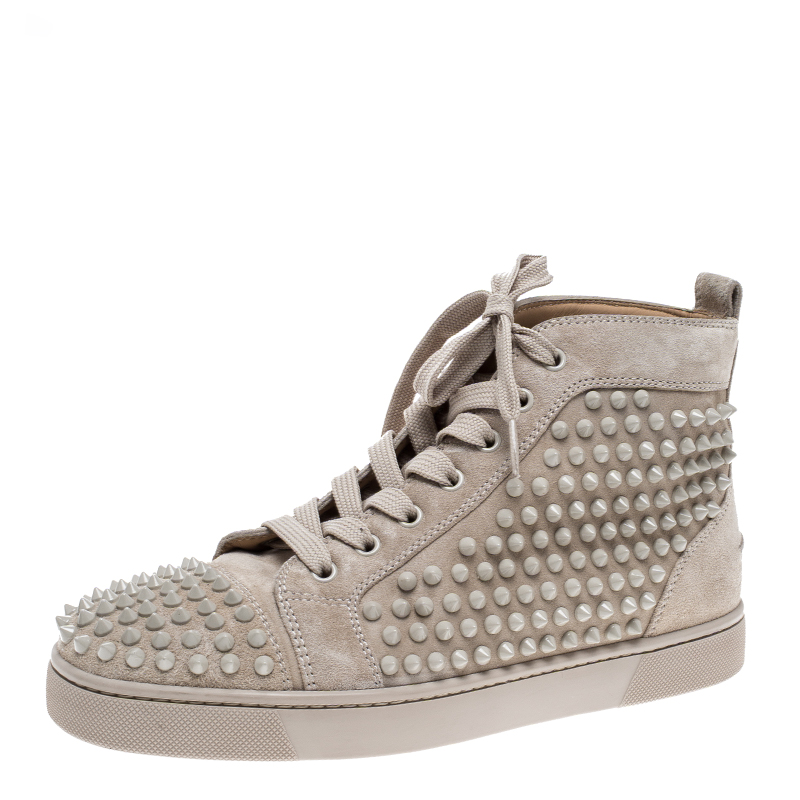 25e607985882 ... Christian Louboutin Beige Suede Louis Spike High Top Sneakers Size 40.  nextprev. prevnext