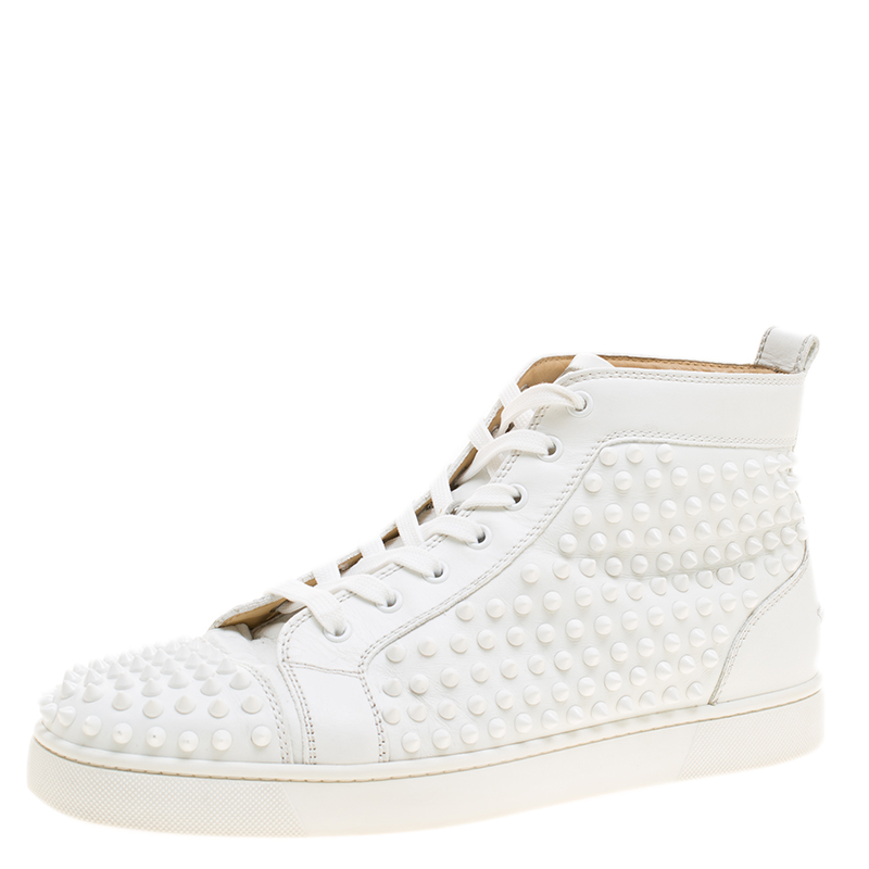 31a8f6d7bc75 ... Christian Louboutin White Leather Louis Spikes Lace Up High Top Sneakers  Size 44. nextprev. prevnext