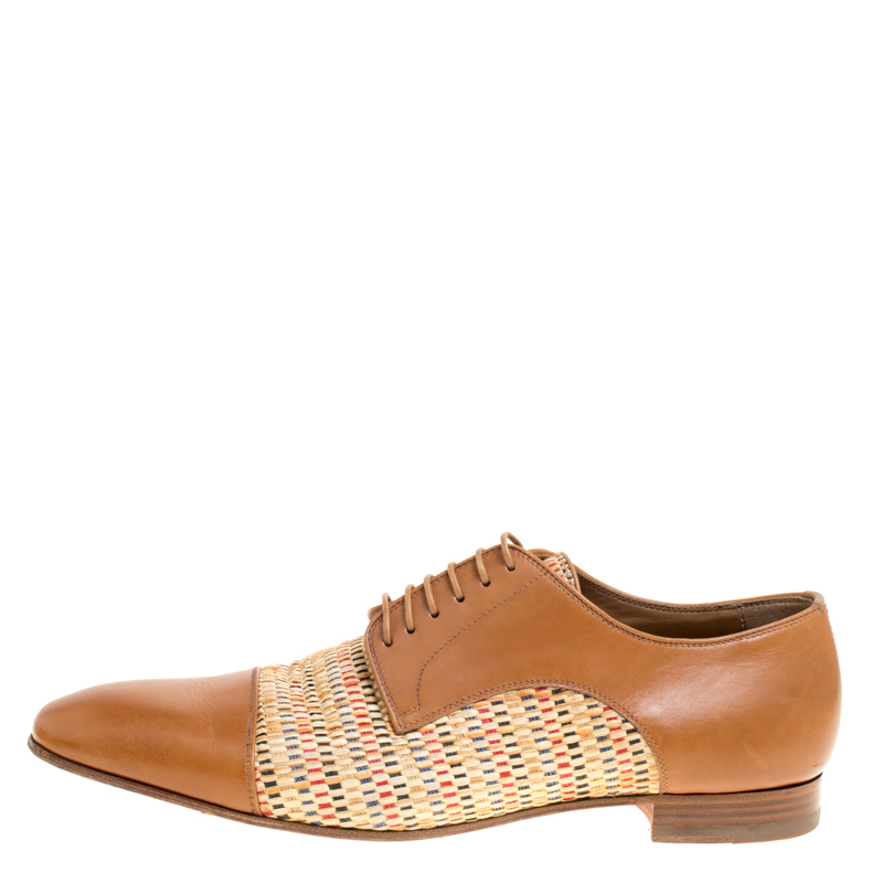 Фото #1: Christian Louboutin Brown Leather and Woven Straw Daviol Derby Size 43.5