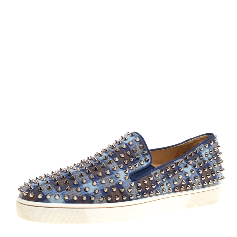 the best attitude 04af7 36a0e Christian Louboutin Blue Check Canvas Roller Boat Spiked Slip On Sneakers  Size 44