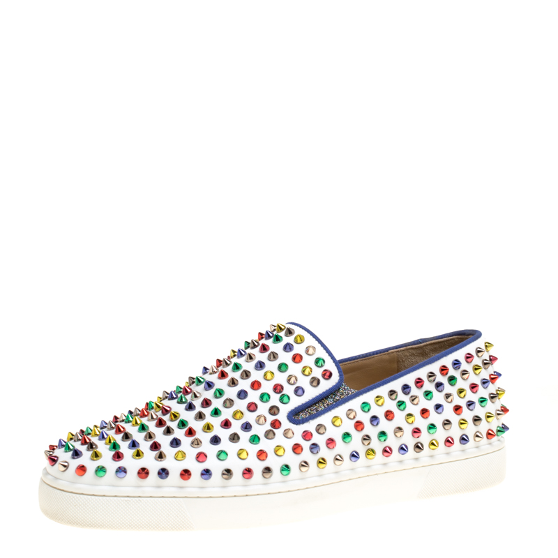 65475922bdd Christian Louboutin White Leather Roller Boat Multicolor Spiked Slip On  Sneakers Size 44
