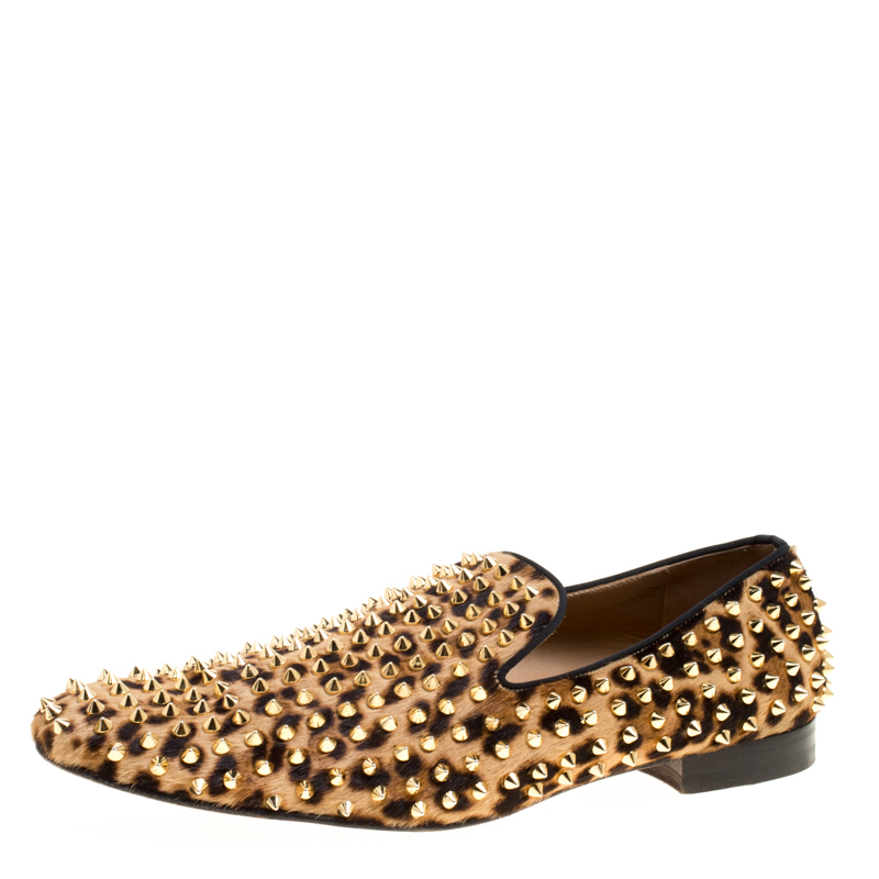 Christian Louboutin Beige Leopard Print Pony Hair Roller Boy Spiked Loafers Size 45