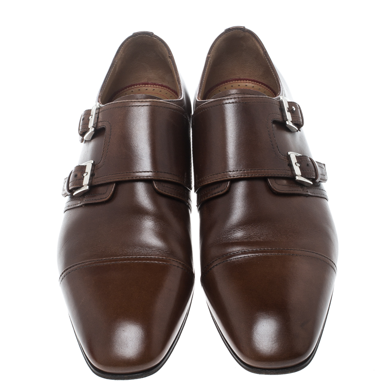best website 8ecb1 adff1 Christian Louboutin Brown Leather Mortimer Double Monk Strap Loafers Size  41.5