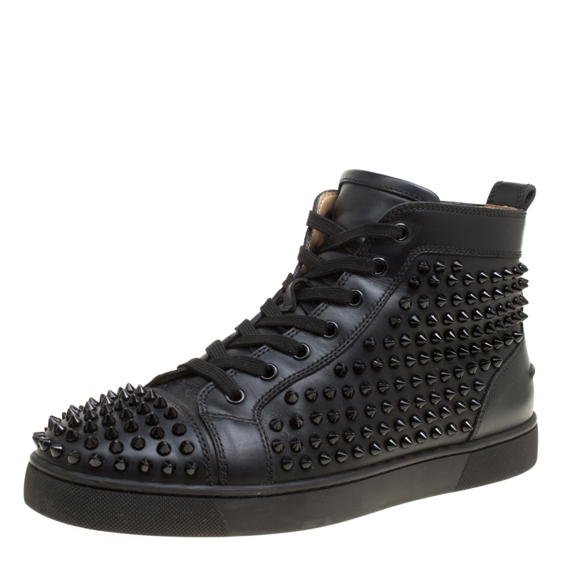 8a7849972ca5 ... Christian Louboutin Black Leather Louis Spikes High Top Sneakers Size  41.5. nextprev. prevnext