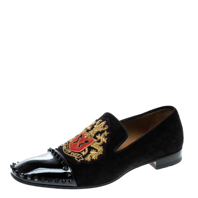 reputable site 97f4a e33fb Christian Louboutin Black Suede and Patent Leather Loubi Forever Spike  Loafers Size 40