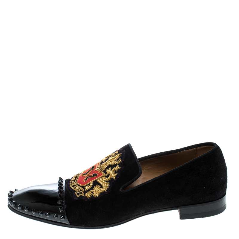 reputable site 9300e 329c8 Christian Louboutin Black Suede and Patent Leather Loubi Forever Spike  Loafers Size 40