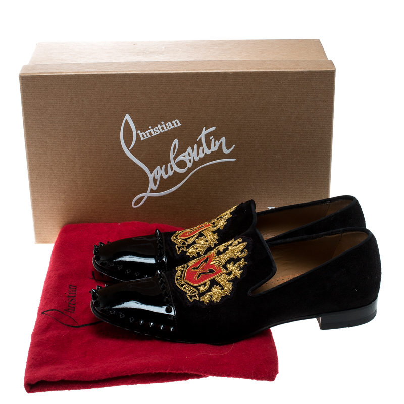 reputable site 7be5d fbb4f Christian Louboutin Black Suede and Patent Leather Loubi Forever Spike  Loafers Size 40