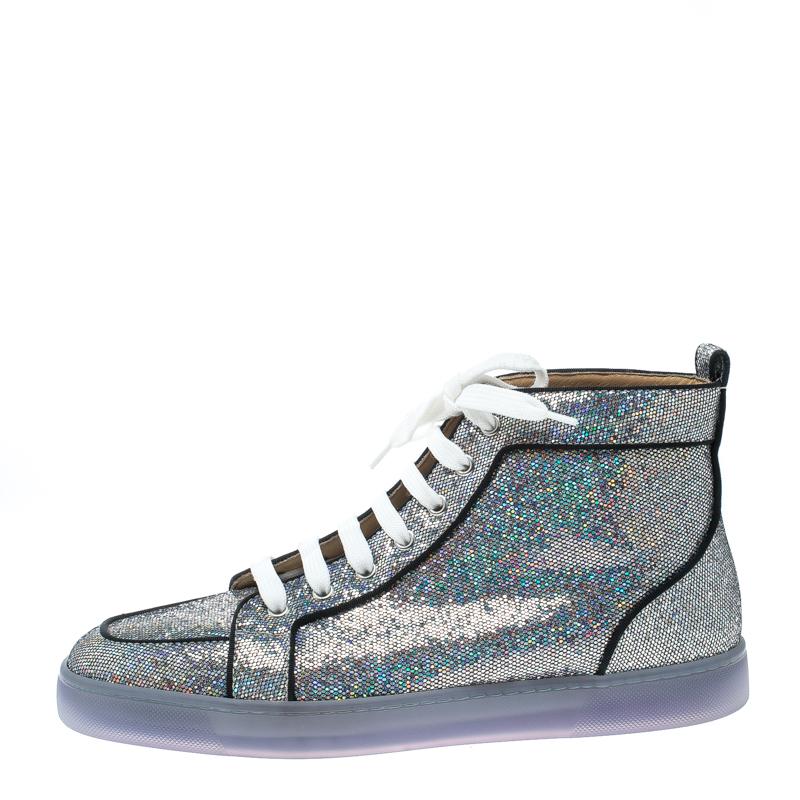 brand new 2a5c7 ad354 Christian Louboutin Glitter Disco Ball Rantus Orlato High Top Sneakers Size  42.5
