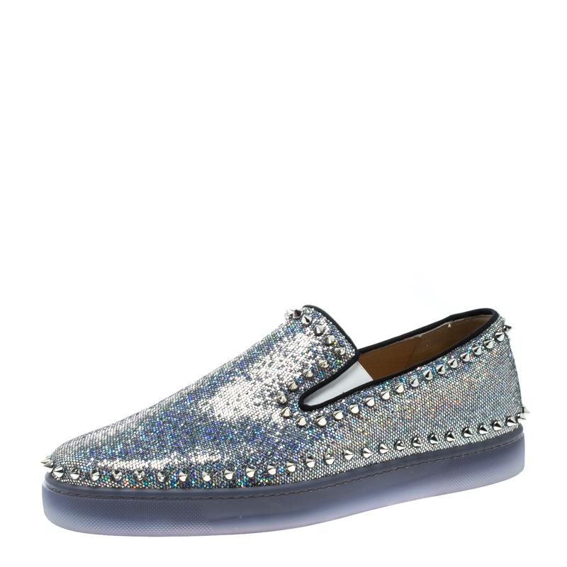 1290cbf2cb8 Christian Louboutin Glitter Disco Ball Spike Pik Boat Slip On Sneakers Size  42