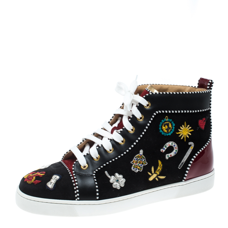 newest 6a078 f1abe Christian Louboutin Black/Maroon Suede and Patent Leather Hand Embroidered  High Top Sneakers Size 43