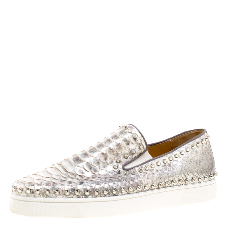 the latest d18ed 150f4 Christin Louboutin Metallic Silver Python Leather Spike Pik Slip On  Sneakers Size 45