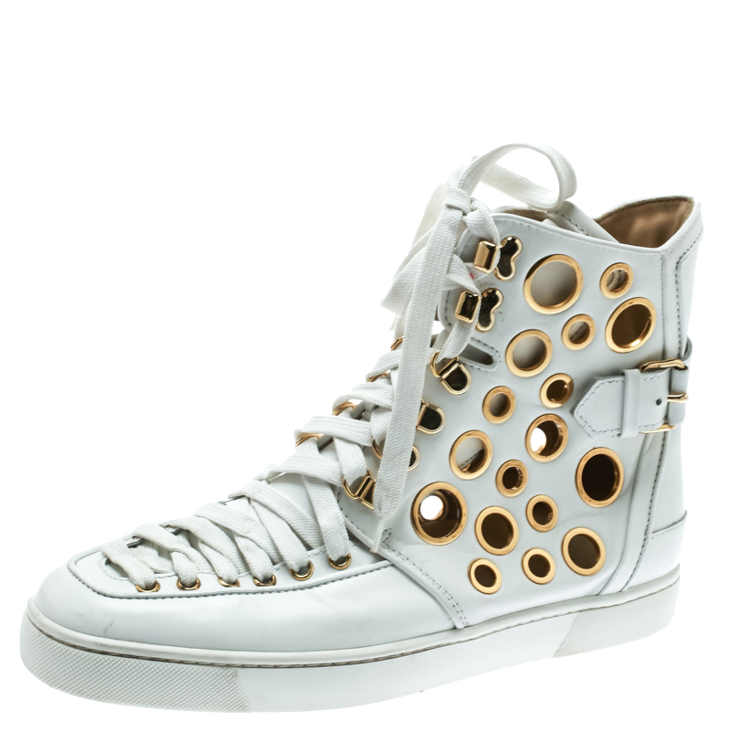 Christian Louboutin White Leather  Alfibully High Top Sneakers Size 42.5