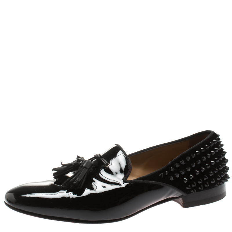 0e05f93afd8c ... Christian Louboutin Black Patent Leather Tassel Detail Spike Loafers  Size 41.5. nextprev. prevnext