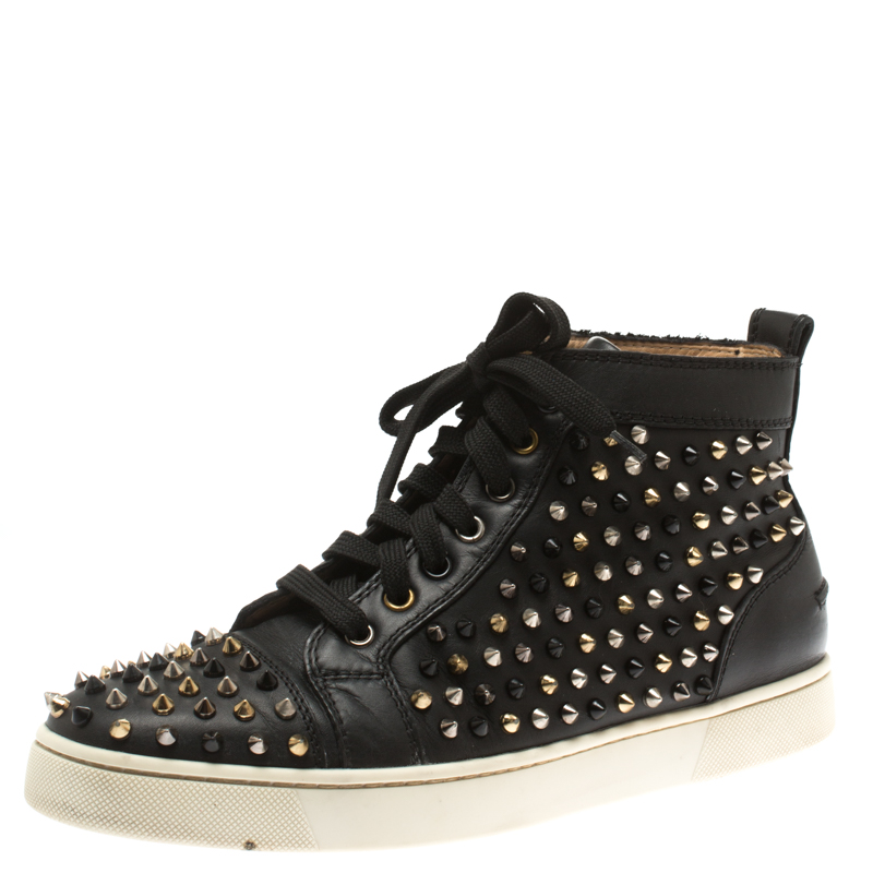 buy online 0bc0b 076d1 Christian Louboutin Black Leather Louis Spikes High Top Sneakers Size 41.5