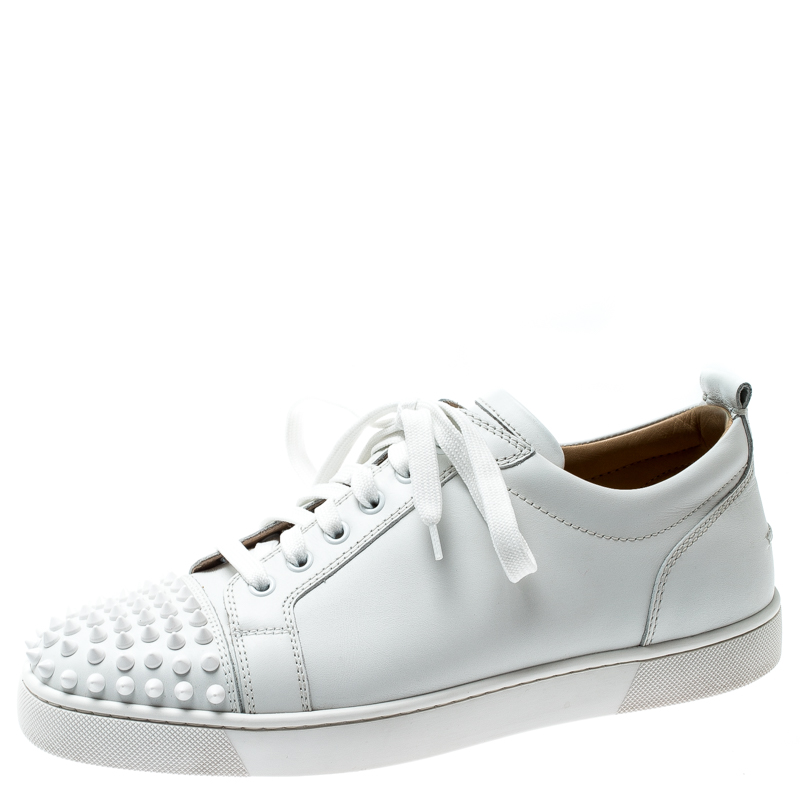 best loved 21903 76310 Christian Louboutin White Leather Louis Junior Spikes Sneakers Size 42