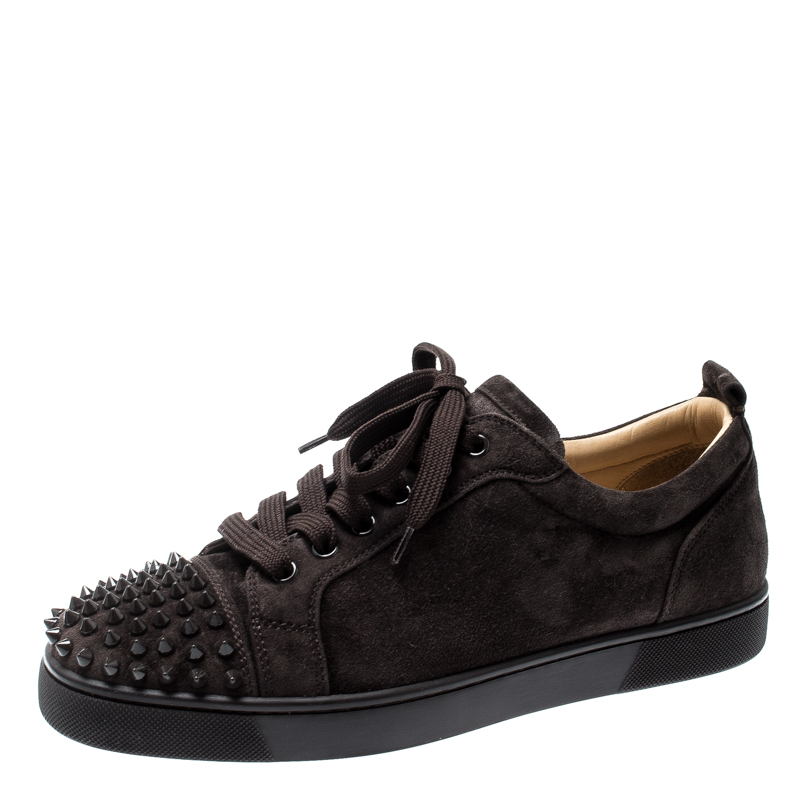 sale retailer d4900 136ce Christian Louboutin Brown Suede Leather Louis Junior Spikes Sneakers Size 41