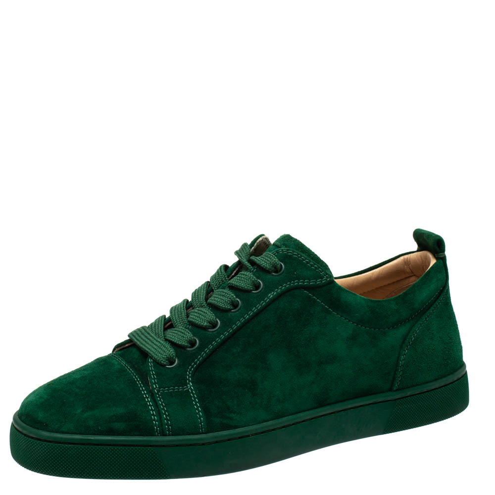 Christian Louboutin Green Suede Leather Low Top Sneakers Size 41.5