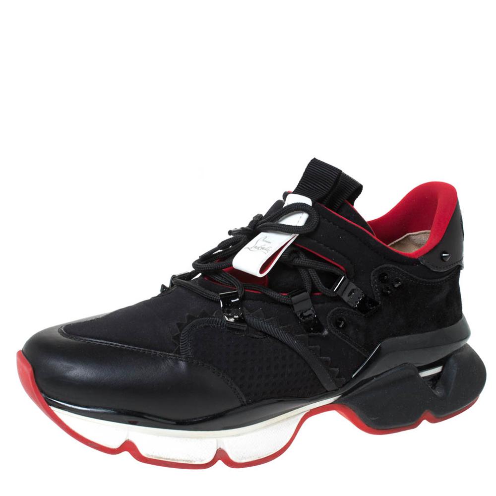 Christian Louboutin Black Neoprene Red-Runner Flat Lace Sneakers Size 43