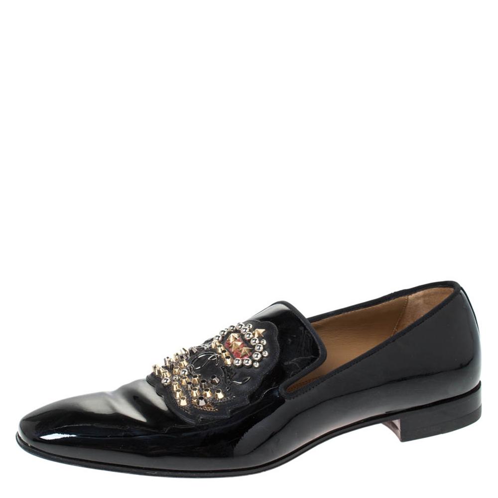Christian Louboutin Black Patent Leather Stud And Logo Embellished Smoking Slippers Size 42.5
