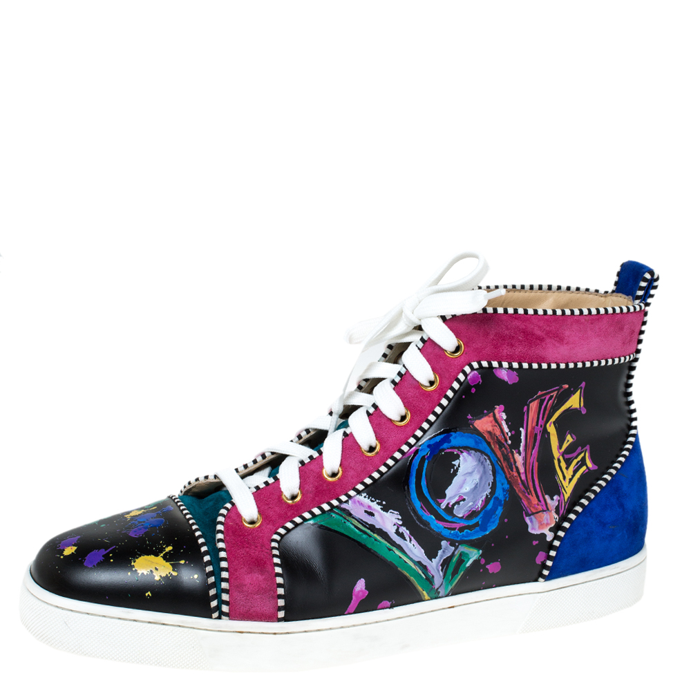 Christian Louboutin Multicolor Leather And Suede Love Rantus Orlato High Top Sneakers Size 44.5