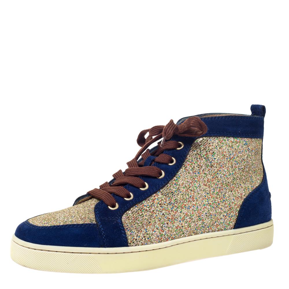 christian louboutin gold glitter sneakers